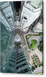 Aerial View Of Singaores Financial Acrylic Print by Andrew Tb Tan