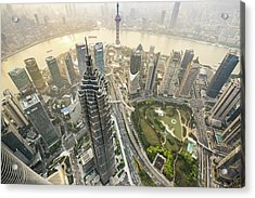 Aerial View Of Skyscrapers In Shanghai Acrylic Print by Yongyuan Dai