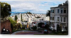Aerial View Of The Lombard Street, Coit Acrylic Print