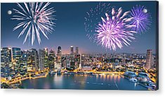 Aerial View Of The Singapore Skyline Acrylic Print by Franckreporter