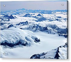 Aerial View Of The Southern Alps Of New Acrylic Print by Thierrylevenq