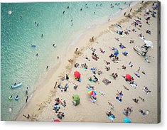 Aerial View Of Tourists On Beach Acrylic Print by Alberto Guglielmi