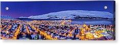 Aerial View - Wintertime In Akureyri Acrylic Print