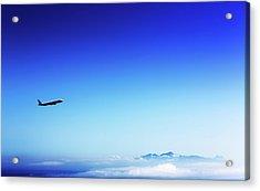 Aeroplane Flying In A Clear Blue Sky Acrylic Print by Wladimir Bulgar
