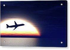 Aeroplane Taking Off At Sunset Acrylic Print by Wladimir Bulgar