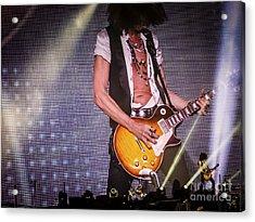 Aerosmith Joe Perry Playing Guitar  In Concert Acrylic Print by Jani Bryson