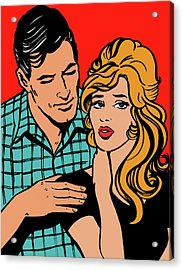 Affectionate Boyfriend Comforting Acrylic Print by Jacquie Boyd