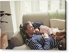 Affectionate, Serene Multi-ethnic Father And Daughter Napping On Sofa Acrylic Print by Caiaimage/Paul Bradbury