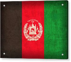 Afghanistan Flag Vintage Distressed Finish Acrylic Print by Design Turnpike