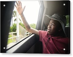 African-american Boy On The Back Seat Of A Car. Acrylic Print by Martinedoucet