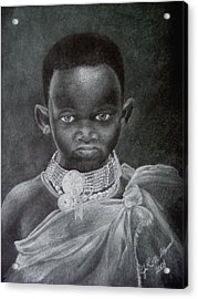 Acrylic Print featuring the drawing African Boy by James McAdams