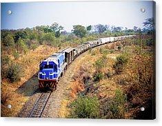 African Cargo Train Between Zimbabwe Acrylic Print