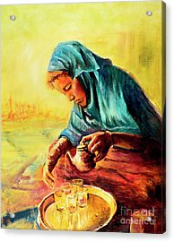 Acrylic Print featuring the painting African Chai Tea Lady. by Sher Nasser