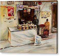 Acrylic Print featuring the painting African Corner Store by Sher Nasser