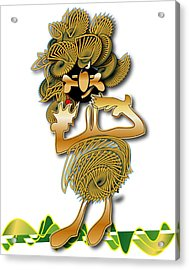Acrylic Print featuring the digital art African Dancer With Bone by Marvin Blaine