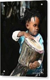 African Drummer Boy Acrylic Print by Vannetta Ferguson