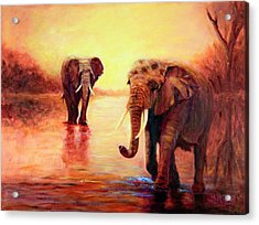 Acrylic Print featuring the painting African Elephants At Sunset In The Serengeti by Sher Nasser