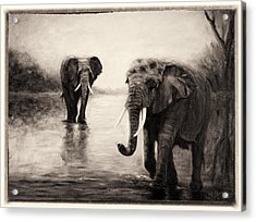 Acrylic Print featuring the painting African Elephants At Sunset by Sher Nasser