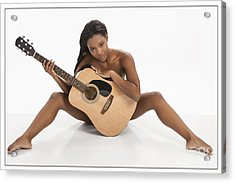 African Nude Holding Guitar 1013.02 Acrylic Print