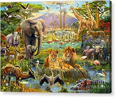 African Watering Hole Acrylic Print