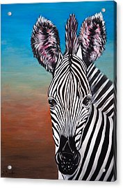 Acrylic Print featuring the painting African Zebra by Donna Proctor