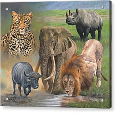 Africa's Big Five Acrylic Print by David Stribbling