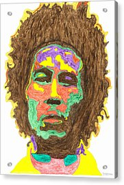 Acrylic Print featuring the painting Afro Bob Marley by Stormm Bradshaw