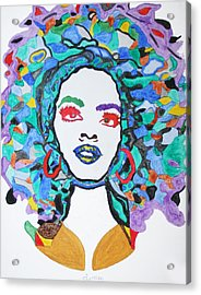 Acrylic Print featuring the painting Afro Lauryn Hill  by Stormm Bradshaw