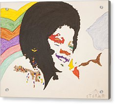 Acrylic Print featuring the painting Afro Michael Jackson by Stormm Bradshaw