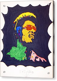 Acrylic Print featuring the painting Afro Stevie Wonder by Stormm Bradshaw