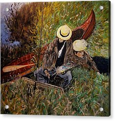 After John Singer Sargent- Paul Cesar Helleu Sketching With His Wife 1889 Acrylic Print