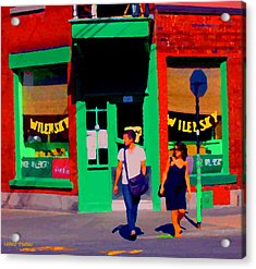 After Lunch At Wilenskys Restaurant Crossing Fairmount Montreal Street Scene Art Carole Spandau Acrylic Print by Carole Spandau
