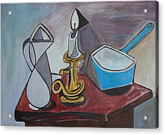 After Picasso Still Life With Casserole Acrylic Print by Veronica Rickard