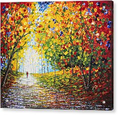 Acrylic Print featuring the painting After Rain Autumn Reflections Acrylic Palette Knife Painting by Georgeta Blanaru