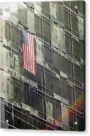 After Sep. 11 Flag On Millennium Hotel Acrylic Print