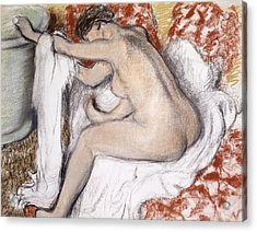 After The Bath Woman Drying Herself Acrylic Print by Edgar Degas
