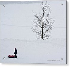 After The Snow Tube Ride Acrylic Print
