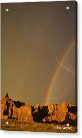 After The Storm - Lightning And Double Rainbow Acrylic Print by Joan Wallner