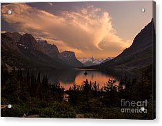 Afterglow Over Wild Goose Island In Saint Mary Lake Acrylic Print by Charles Kozierok