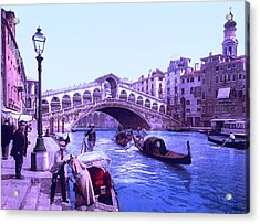 Afternoon At The Rialto Bridge Venice Italy II Acrylic Print by L Brown