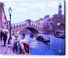 Afternoon At The Rialto Bridge Venice Italy Acrylic Print by L Brown