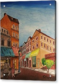 Afternoon Cafe Acrylic Print by Irving Starr