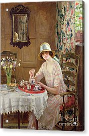 Afternoon Tea Acrylic Print by William Henry Margetson