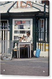 Afternoon Tea With Mum At The Seaside Acrylic Print by Daniel Blatt