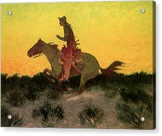 Against The Sunset Acrylic Print by Frederic Remington