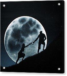 Agape Under A Full Moon Rising Acrylic Print