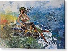 Agean Sea Mermaid Acrylic Print by Nancy Gorr