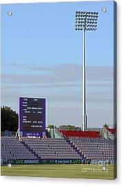Ageas Bowl Score Board And Floodlights Southampton Acrylic Print by Terri Waters