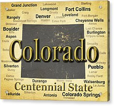Aged Colorado State Pride Map Silhouette  Acrylic Print by Keith Webber Jr