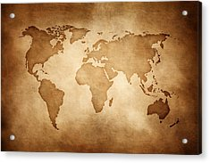 Aged Style World Map, Paper Texture Background Acrylic Print by Sankai